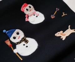 「小袖屋」製作のアップリケの染名古屋帯「雪だるまと子犬」