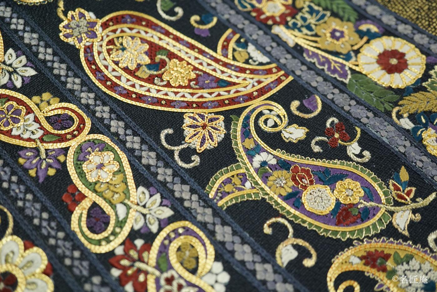 更紗文様刺繍袋帯