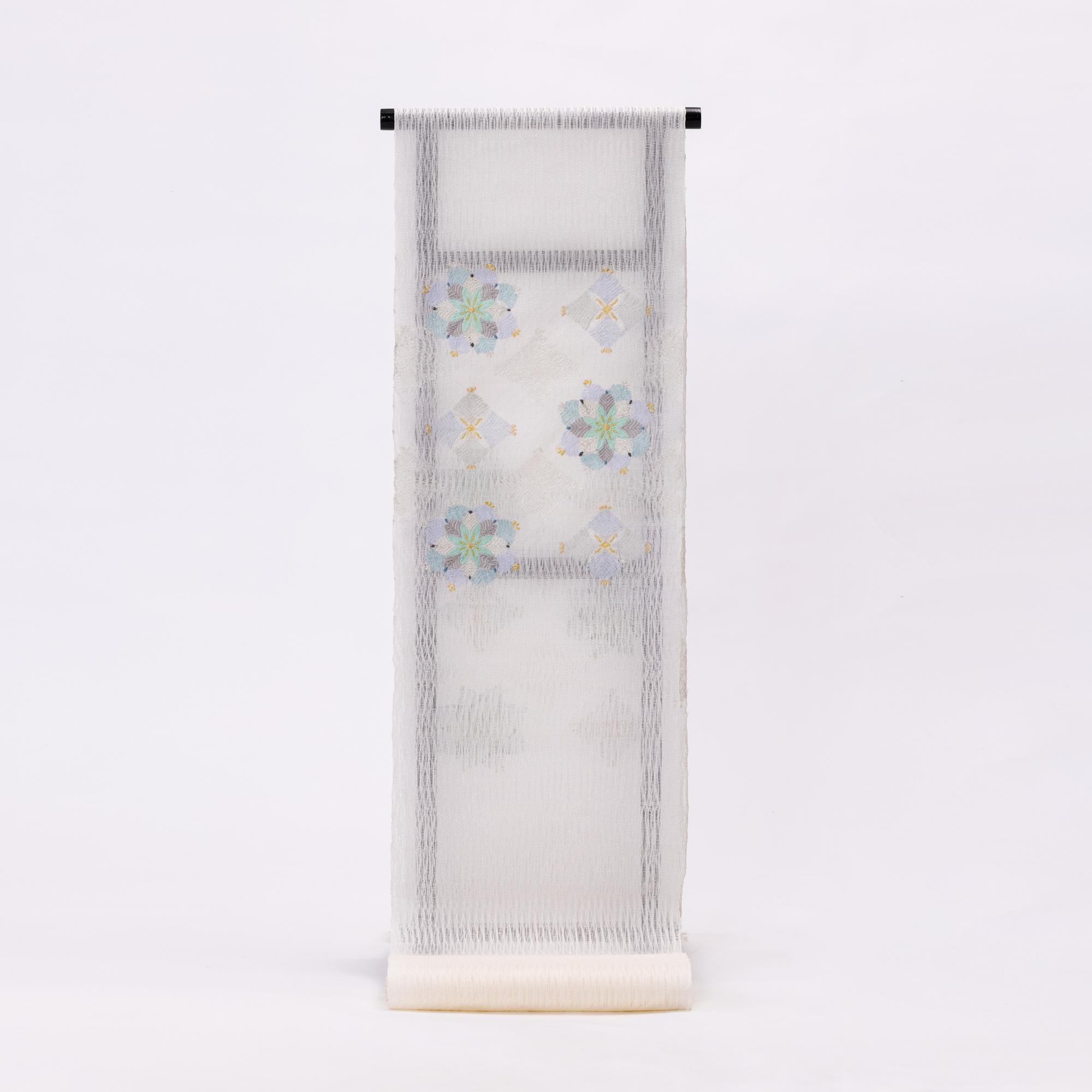 京都【おび弘】製 櫛織名古屋帯/袋帯 松花菱文様